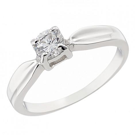 Δαχτυλίδι Μονόπετρο με Ζιργκόν Λευκόχρυσος Κ14 - 07124
