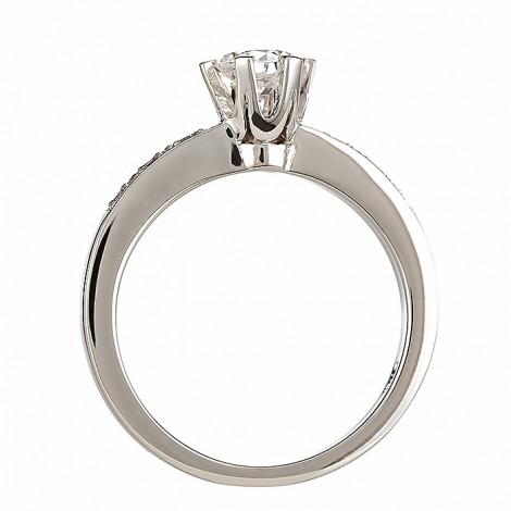 Δαχτυλίδι Μονόπετρο με Διαμάντια Λευκόχρυσος Κ18 - 083463R