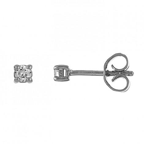 Σκουλαρίκια Μονόπετρα με Διαμάντια Λευκόχρυσός Κ18 - 09026W