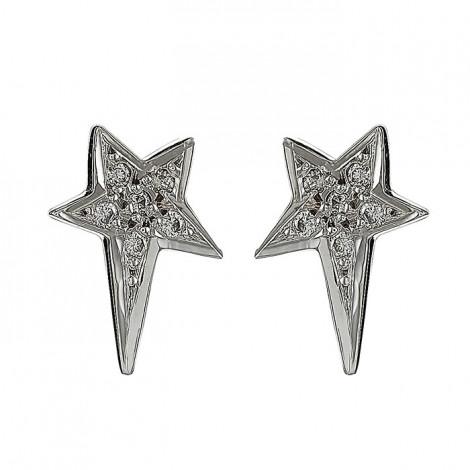 Σκουλαρίκια με Διαμάντια Λευκόχρυσος Κ18 - 09035