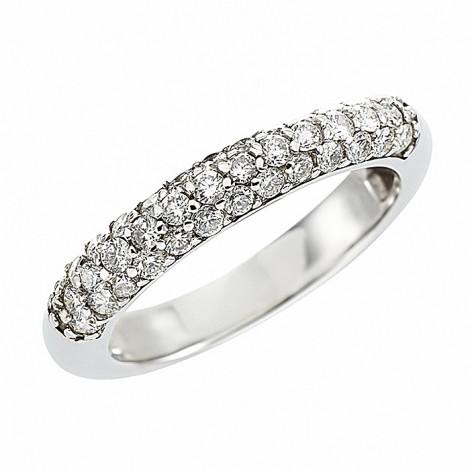Δαχτυλίδι Μισόβερο με Διαμάντια Λευκόχρυσος Κ18 - 09054