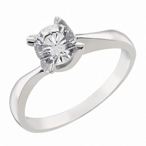 Δαχτυλίδι Μονόπετρο με Ζιργκόν Λευκόχρυσος Κ14 - 09070