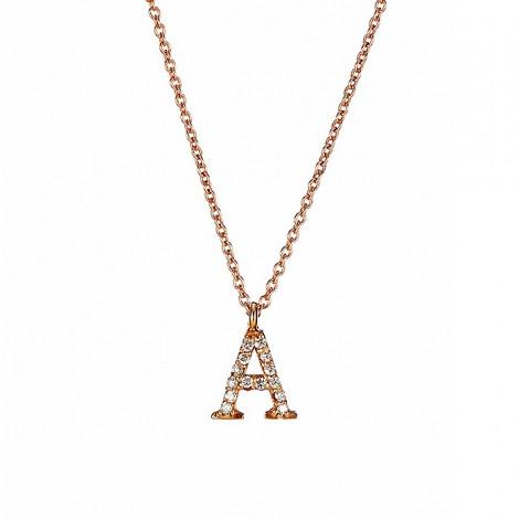 Μενταγιόν Μονόγραμμα Α με Διαμάντια Ροζ Χρυσός Κ18 - 10014A