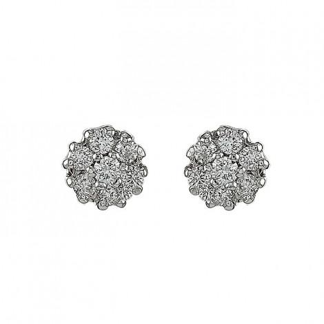 Σκουλαρίκια με Διαμάντια Λευκόχρυσος Κ18 - 10095