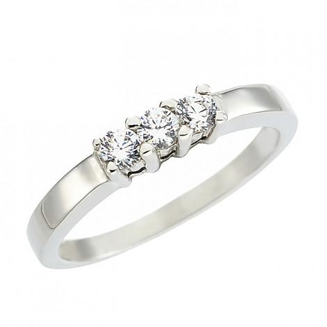 Δαχτυλίδι Μισόβερο με Διαμάντια Λευκόχρυσος Κ18 - 11376