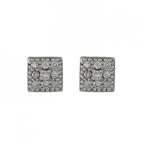 Σκουλαρίκια με Διαμάντια Λευκόχρυσος Κ18 - 11005
