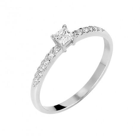 Δαχτυλίδι Μονόπετρο με Διαμάντια Λευκόχρυσος Κ18 - 13062
