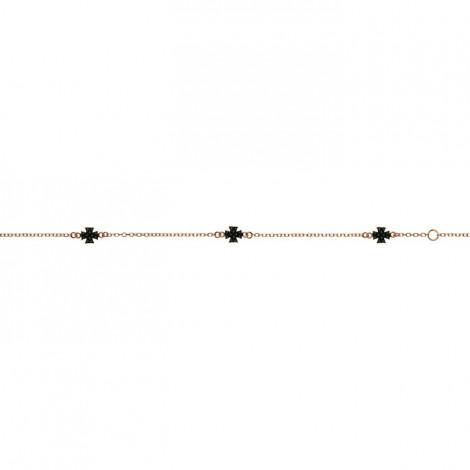 Βραχιόλι Σταυροί με Μαύρα Ζιργκόν Ροζ Χρυσός Κ9 - 10458