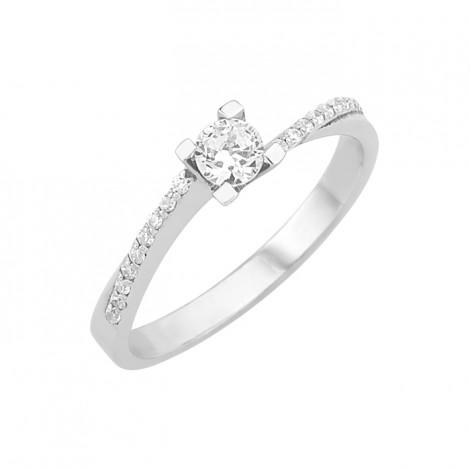 Δαχτυλίδι Μονόπετρο με Διαμάντια Λευκόχρυσος Κ18 - 16010