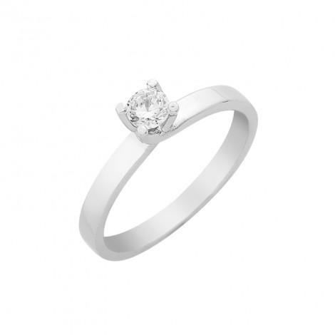 Δαχτυλίδι Μονόπετρο με Διαμάντι Λευκόχρυσος Κ18 - 16031