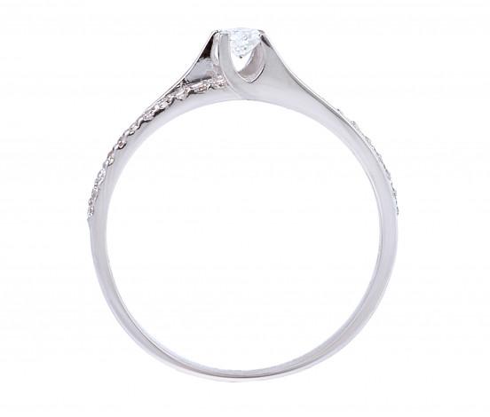 Δαχτυλίδι Μονόπετρο με Διαμάντια Λευκόχρυσος Κ18 - 13040