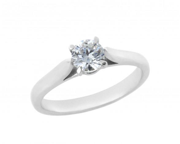Δαχτυλίδι Μονόπετρο με Διαμάντι Λευκόχρυσος Κ18 - 11029