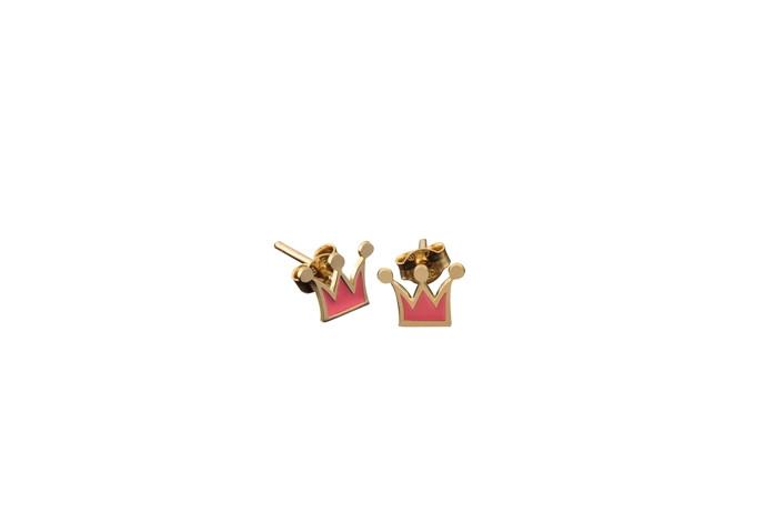 Παιδικά Σκουλαρίκια Κορώνα με Ροζ Σμάλτο Χρυσός Κ9- 3Ε100