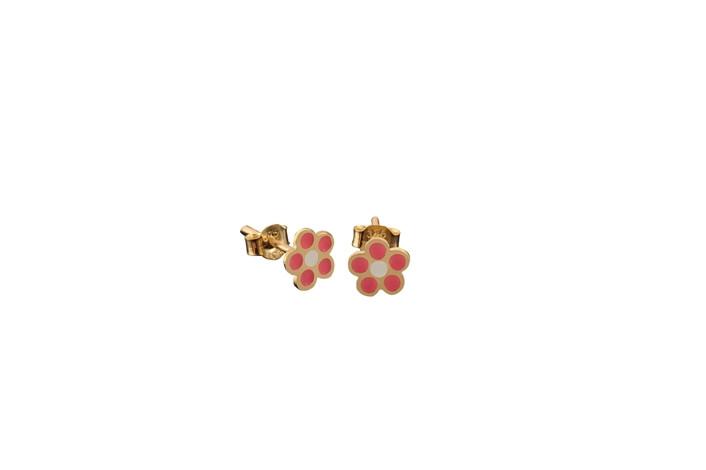 Παιδικά Σκουλαρίκια Λουλουδάκι με Σμάλτο Χρυσός Κ9 - 3E105