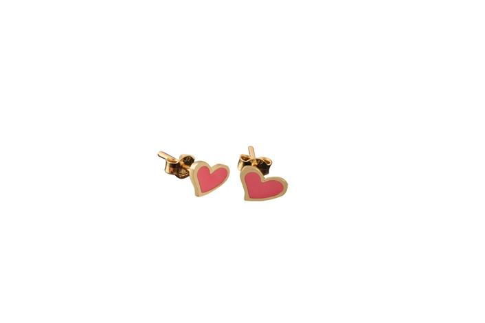 Παιδικά Σκουλαρίκια Καρδούλα με Ροζ Σμάλτο Χρυσός Κ9 - 3E111