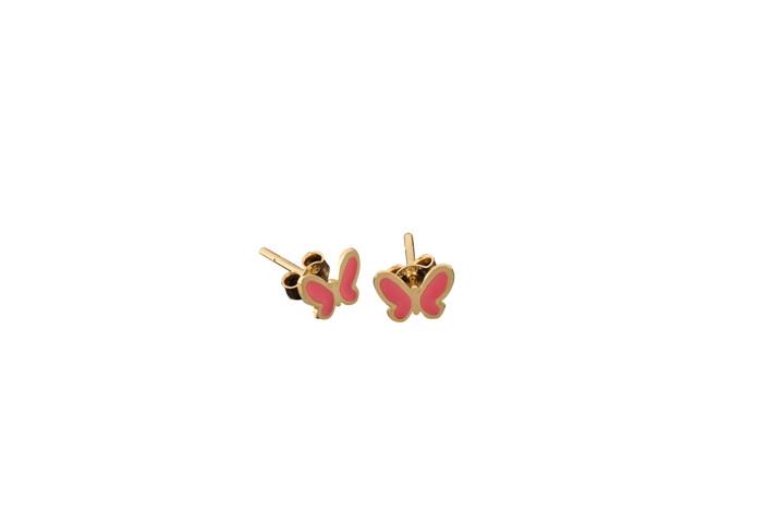 Παιδικά Σκουλαρίκια Πεταλούδα με Ροζ Σμάλτο Χρυσός Κ9 - 3E104